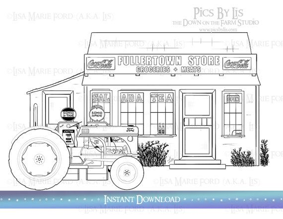 1950s Country Corner Store With Ford 8n Tractor Coloring Page