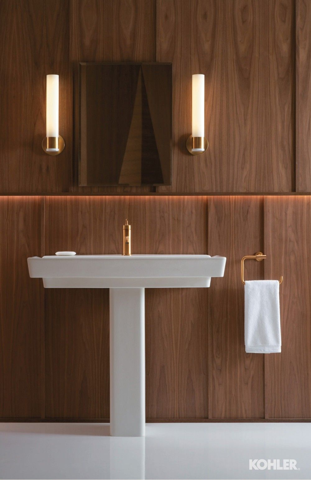 Kohler Bathroom Sconces gleaming gold bathroom | towel rings, gold bathroom and wall sconces