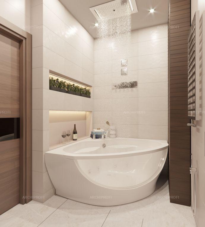 Photo of 3D интерьера, Ванная комната Проект Джакузи –  Дизайн-проект Холостяк,  Автор проекта: Дизайнер Наталья Апухтина