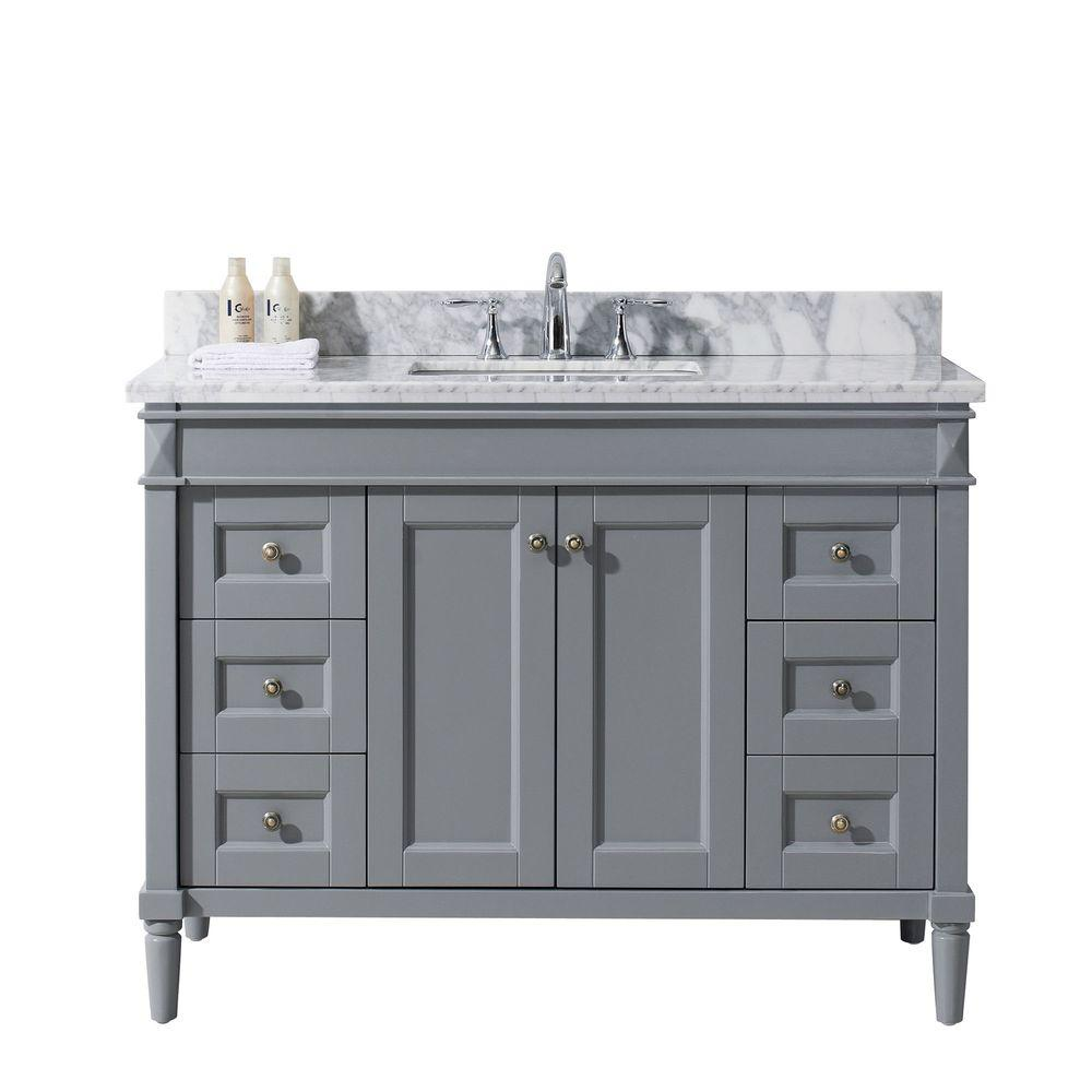 Virtu Usa Tiffany 49 In W Bath Vanity In Gray With Marble Vanity Top In White With Round Basin Es 40048 Wmro Gr Nm Single Bathroom Vanity Marble Vanity Tops Single Sink Bathroom Vanity