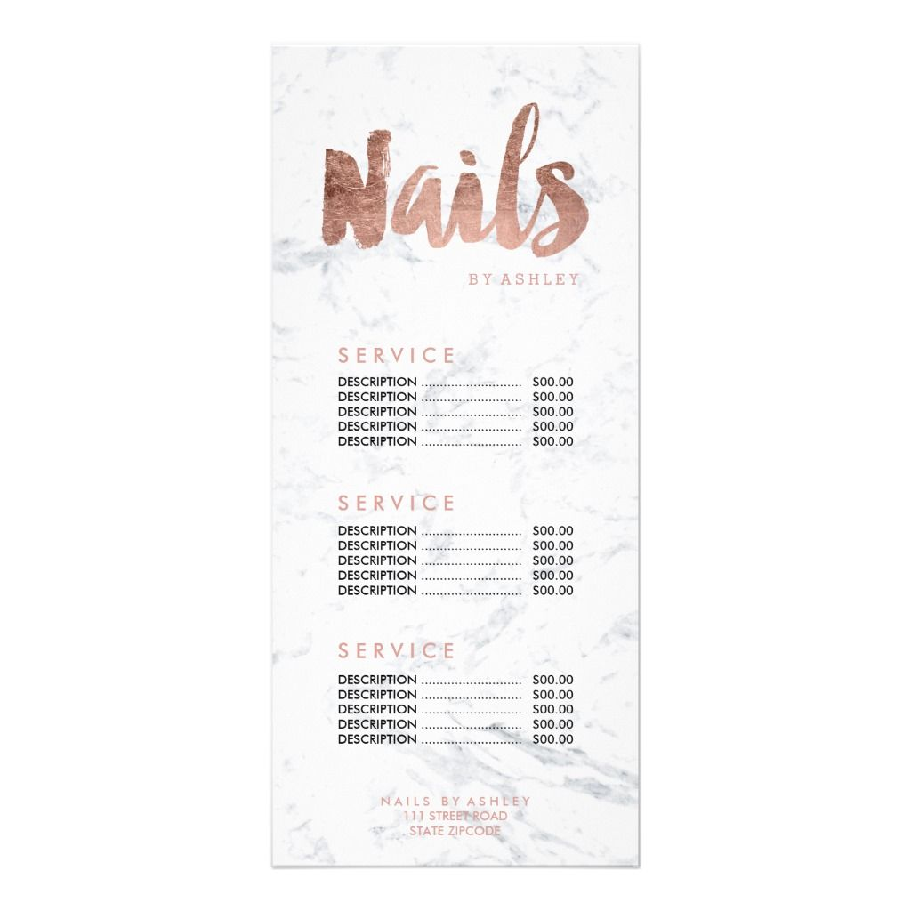Nails Modern Gold Typography Marble Price List Rack Card Zazzle Com In 2020 Nail Salon Design Marble Price Home Nail Salon