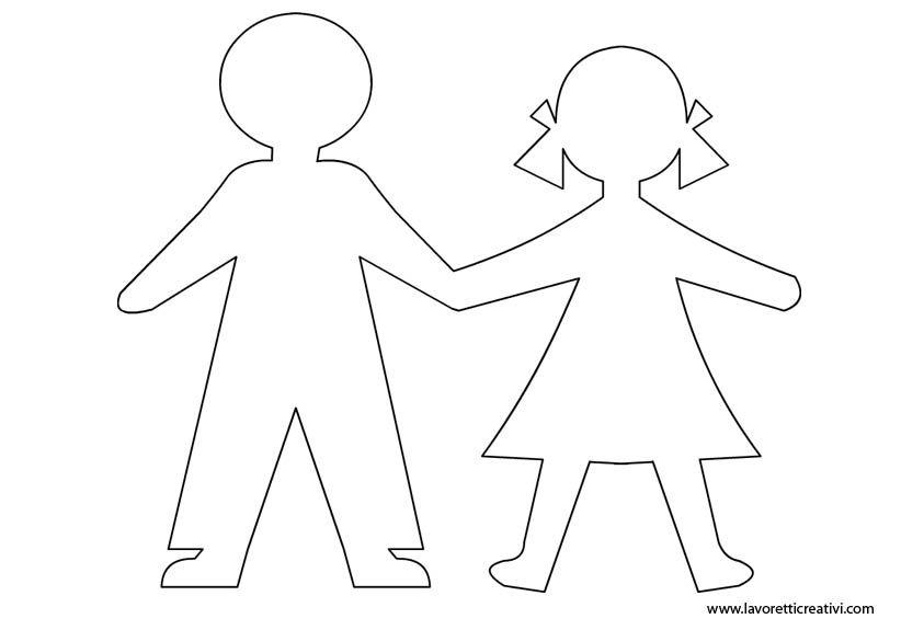 Disegni Da Colorare Di Bambini Che Si Tengono Per Mano.Sagome Di Bambini Che Potete Stampare E Utilizzare Come Volete Per Salvare L Immagine Cliccate Sul Disegno Con Il Tasto De Bambole Di Carta Artigianato Sagome