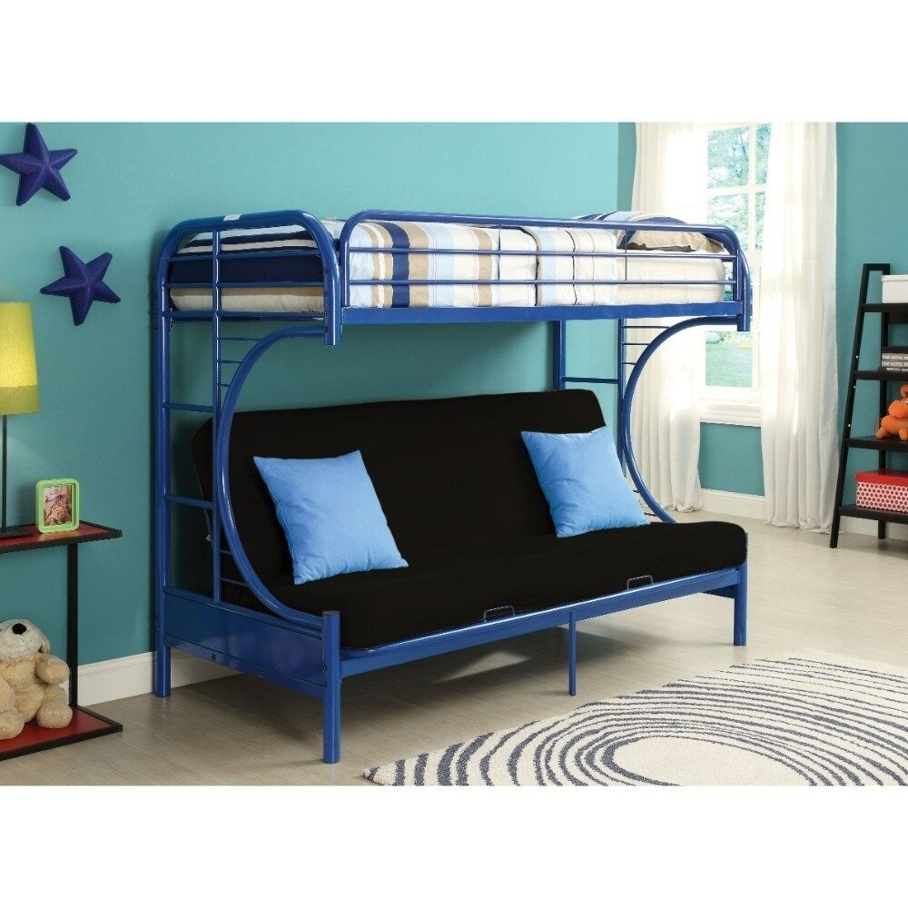 Metal Twin over Full Size Futon Bunk Bed, Navy Blue
