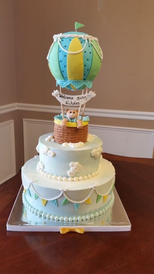 Marvelous Hot Air Balloon Baby Shower Cake Part - 8: Hot Air Balloon Baby Shower Cake
