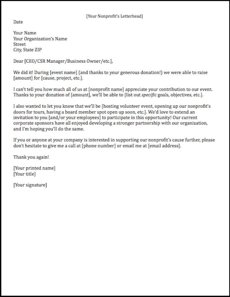 Acknow Letters | Good Example Via Fundly. Sponsorship ...  Example Sponsor Letter