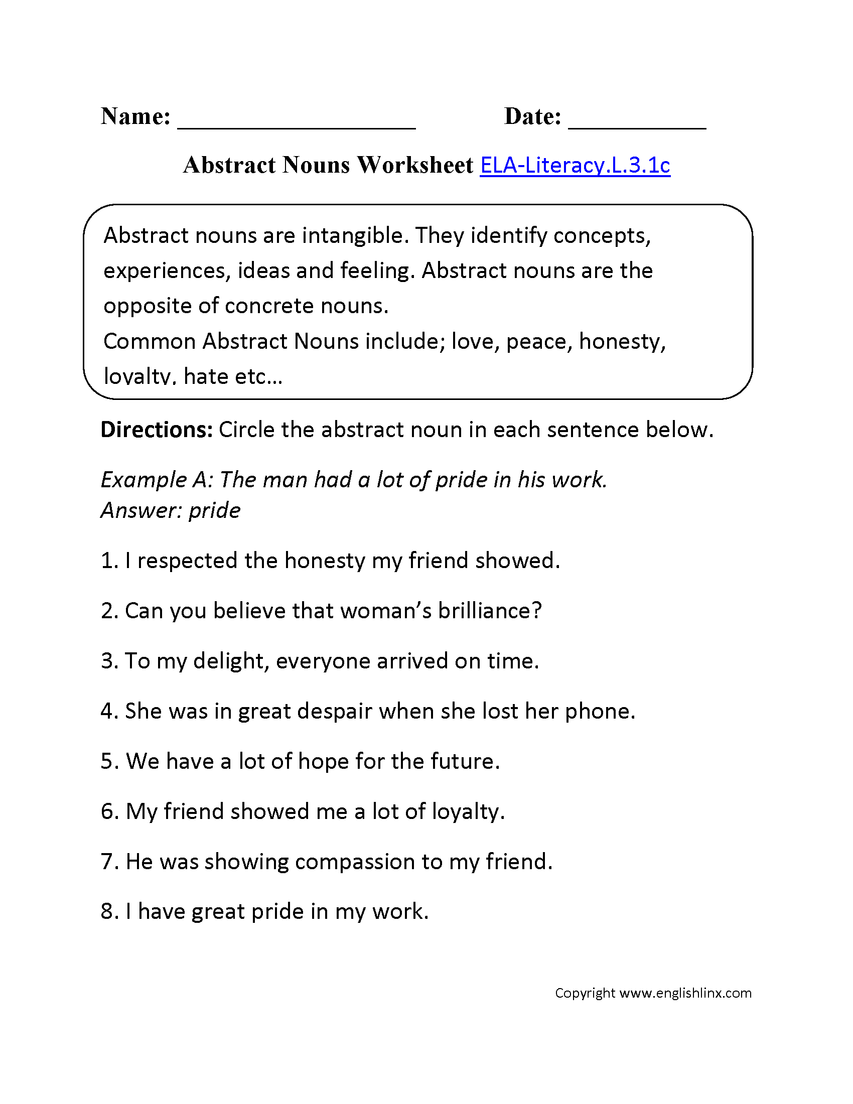 Abstract Nouns Worksheet 1 Ela Literacy L 3 1c Language