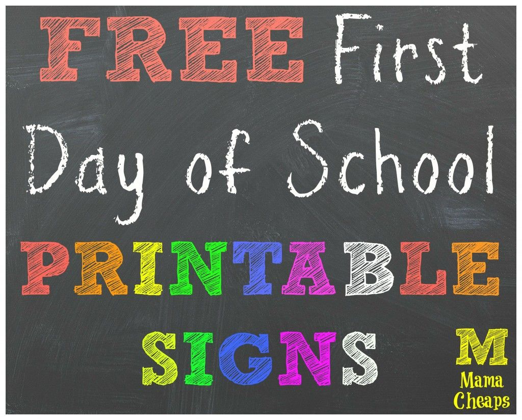 image about First Day of Preschool Sign Free Printable titled Cost-free Again in the direction of University Printable Chalkboard Signs and symptoms for Very first Working day