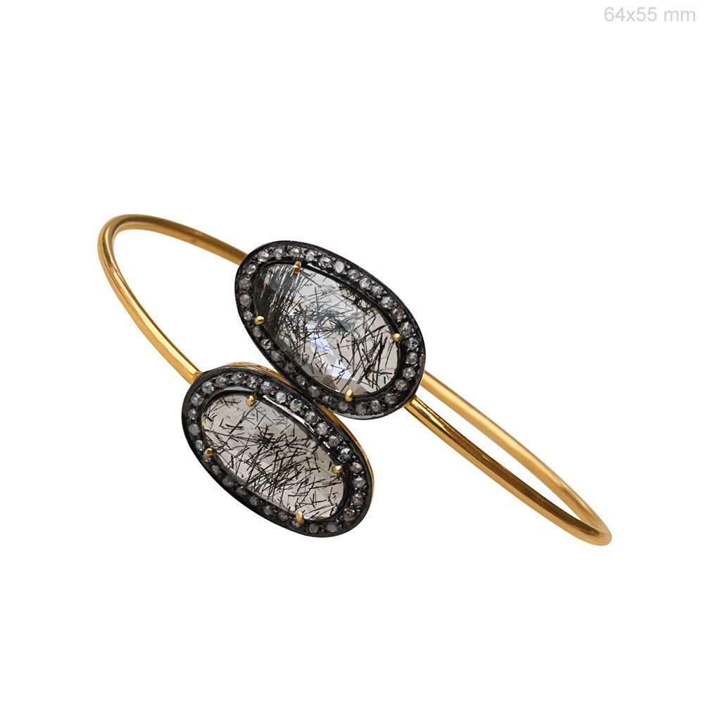 Black rutile quartz gemstone k gold cuff bracelet bangle diamond