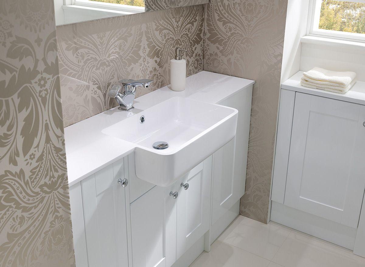 Fontana 1844mm Central Basin High Gloss White Bathroom