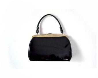 1960s Bag Goth Bag Gothic Bag Black Mod Bag by