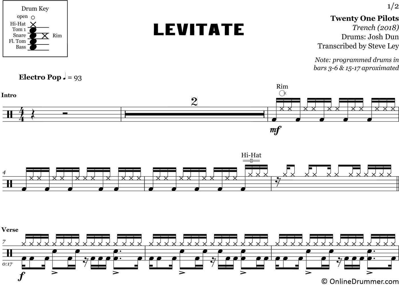 image regarding Free Printable Drum Sheet Music named Levitate - 20 A single Pilots - Drum Sheet New music Drum Sheet