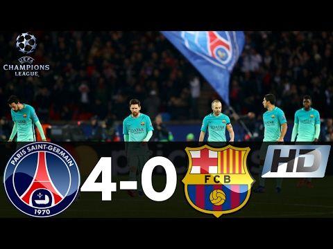 PSG vs Barcelona 4-0 UEFA Champions League All Goals and ...