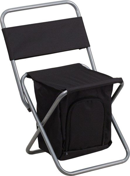 Kids Folding Camp Chair Tent Black Camping With Insulated Storage Outdoor