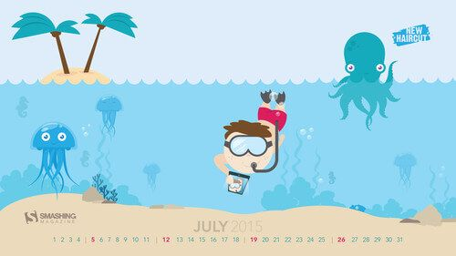 Underwater Selfie desktop calendario luglio 15