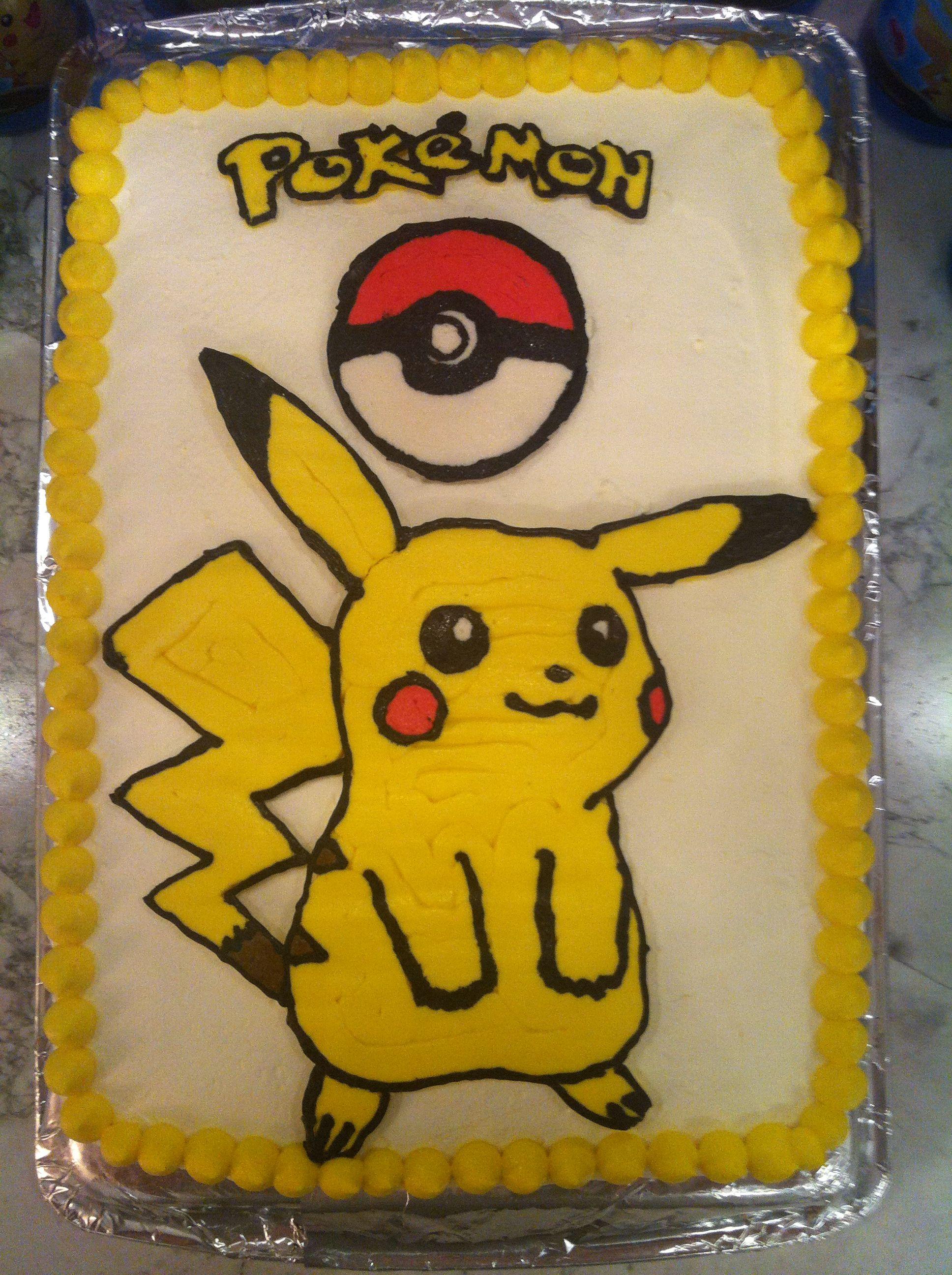 Cake Decorating Frozen Buttercream Transfer : Frozen buttercream transfer pikachu cake everything..lol ...