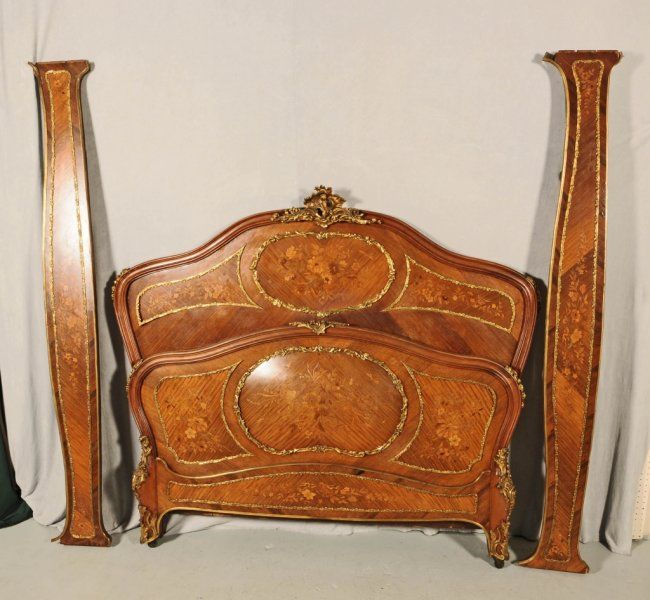 antique french lxv style marquetry bed bombe floral on french rh pinterest com