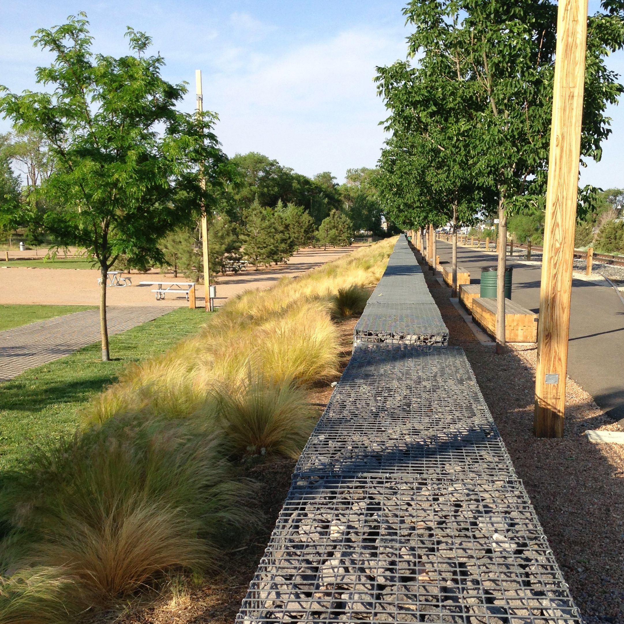 unbelievable curved gabion wall. Gabion fence in the Railyard Park  Santa Fe NM Pinterest