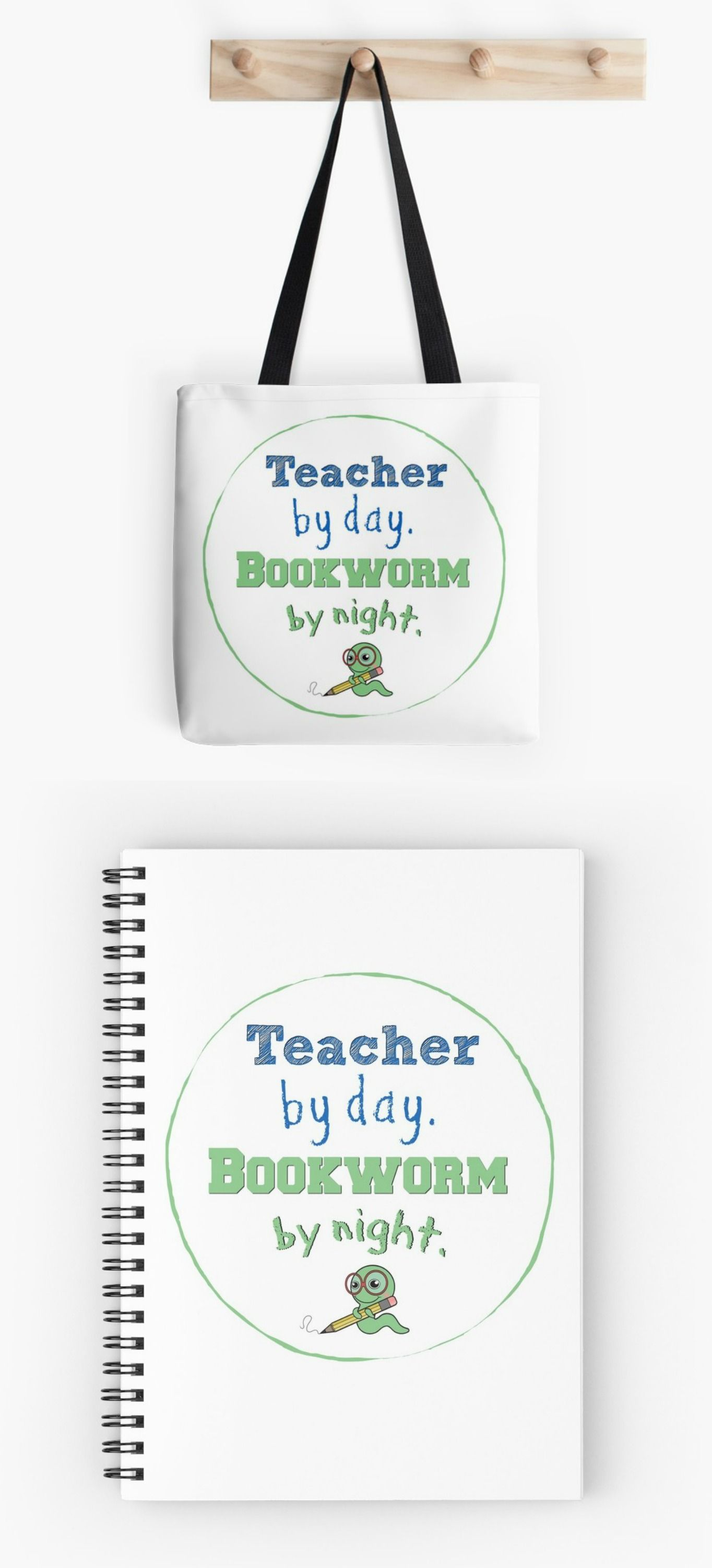 Teacher by day. Bookworm by night. I LOVE the book tote and spiral notebook the best but the pillow is cute too!! These make beautiful teacher gifts of self expression. 18 total products available! Support a teacher family too! (aff.link)