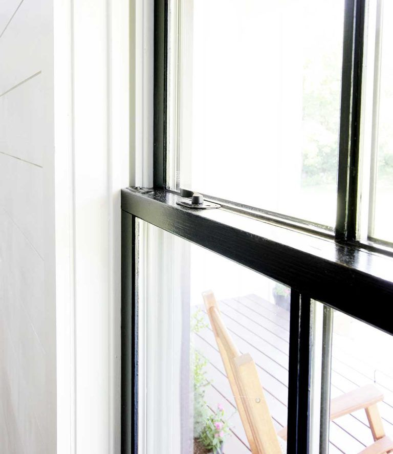 How To Paint Windows Black No Taping Required Plank And Pillow In 2020 Black Window Trims Black Window Frames White Windows
