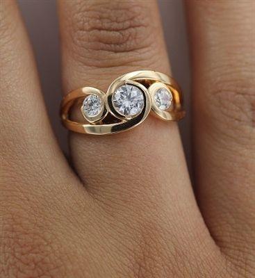 0.50CT Modern Round Diamond Bubble Trilogy Dress Ring | DHDOMRL99A