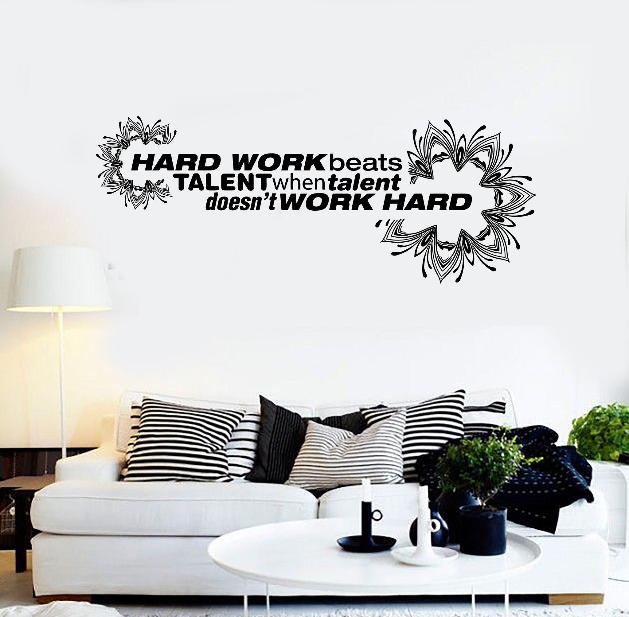 Vinyl Wall Decal Office Quote Hard Work Motivation Decoration