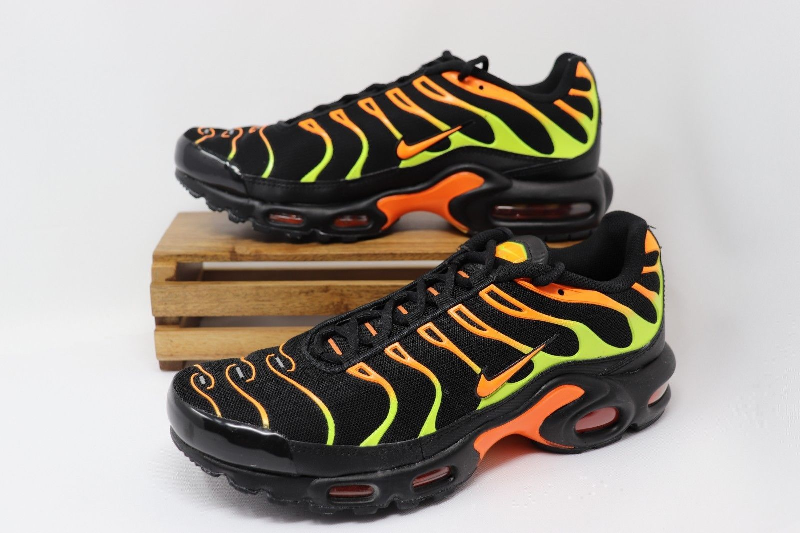 separation shoes 4e830 d0bba Nike Air Max Plus Shoes Black Volt Total Orange Green Yellow ...