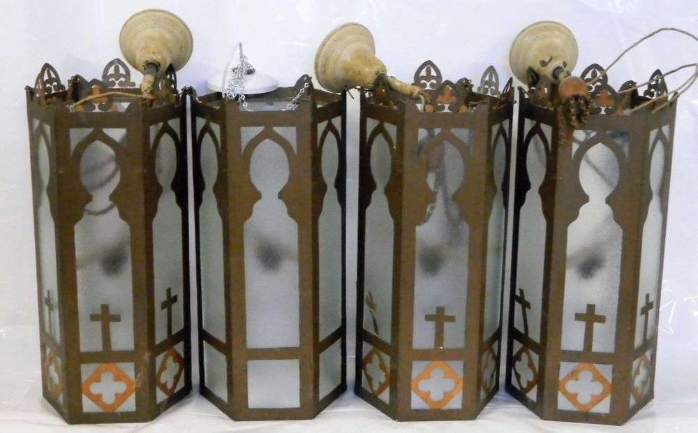 4 Antique Church Light Fixture Lot Vintage Ceiling Hanging Pendant Gothic Cross Old Glass Shade Metal & 4 Antique Church Light Fixture Lot Vintage Ceiling Hanging Pendant ... azcodes.com