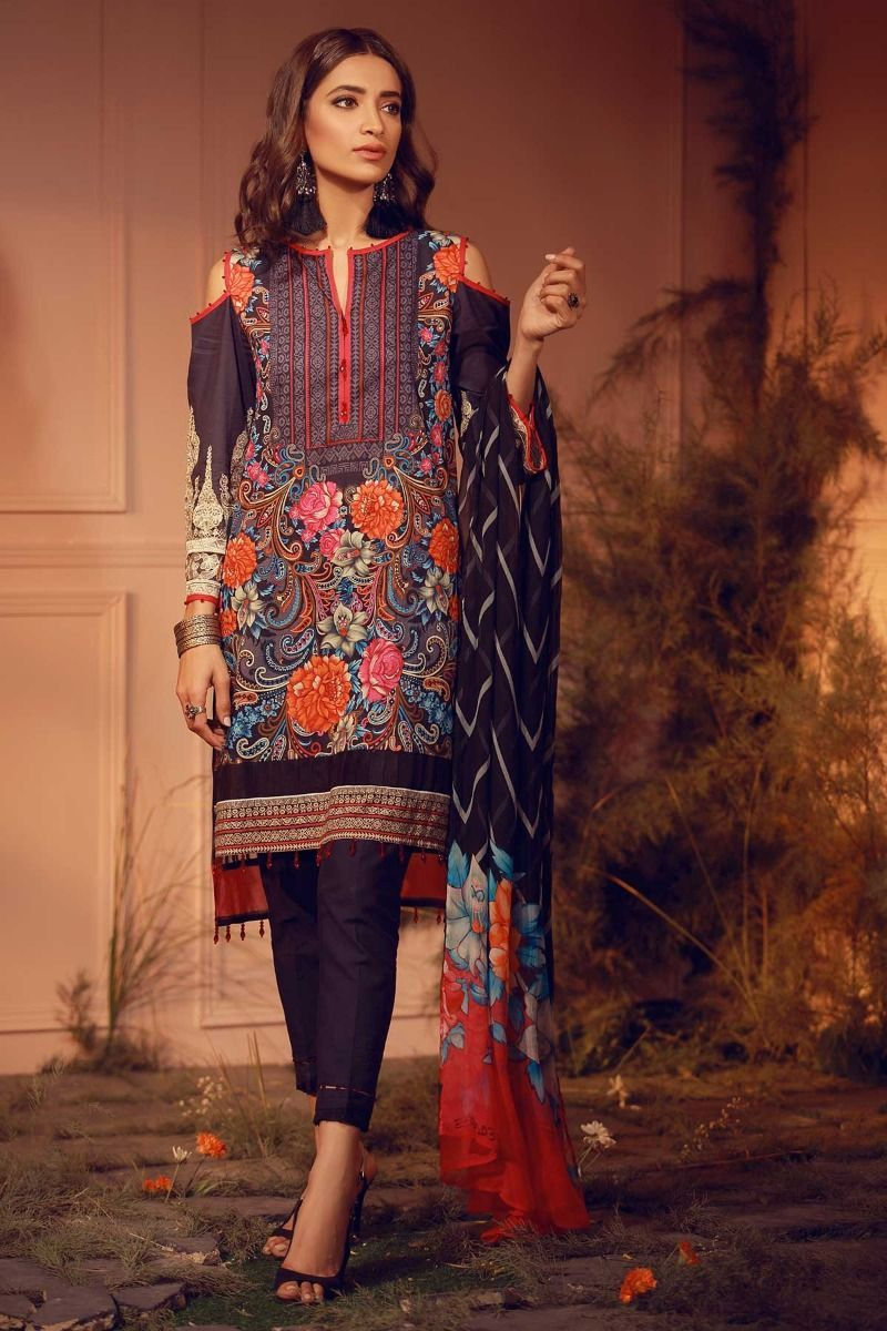 bcbe3d8d8c Khaadi Unstitched Luxury Collection 2018 SKU E18203-Black-3Pc with model  Rubab Ali