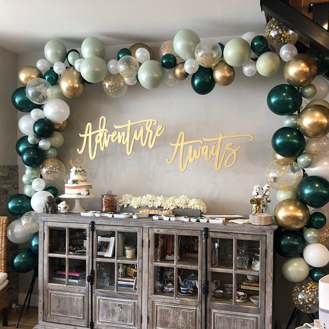 Gold and White Balloons Green Light Green Wedding Decor Green and Gold Balloons Chrome Gold Balloons |Sage Green Bridal Shower Decor