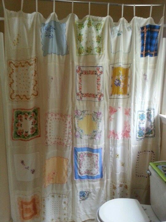 Shower Curtain Made Of Vintage Handkerchiefs