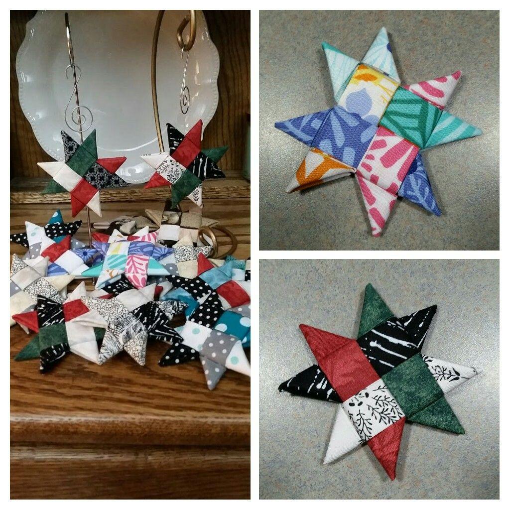 3 1 2 Inch Scandinavian Fabric Star Ornaments Scandinavian Fabric Fabric Stars Star Ornament