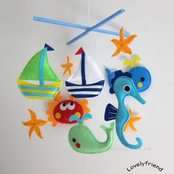 Baby Mobile - Crab Crib Mobile - Handmade Nursery Mobile - \