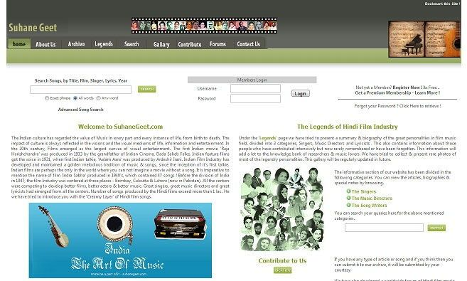 A great website for Indian Vintage Music lovers ! Great collection, streams music online. Almost all the Best songs are there in their records. Built on a rigid PHP platform, soothing design. Also the site contains great information about Legends of Indian Film Industry, however currently they are all static.Edit: The Curators of Suhane Geet plans for an upgrade with tons of new features, the update is planned to be released in mid 2009-10, as the BETA 2 of the project.