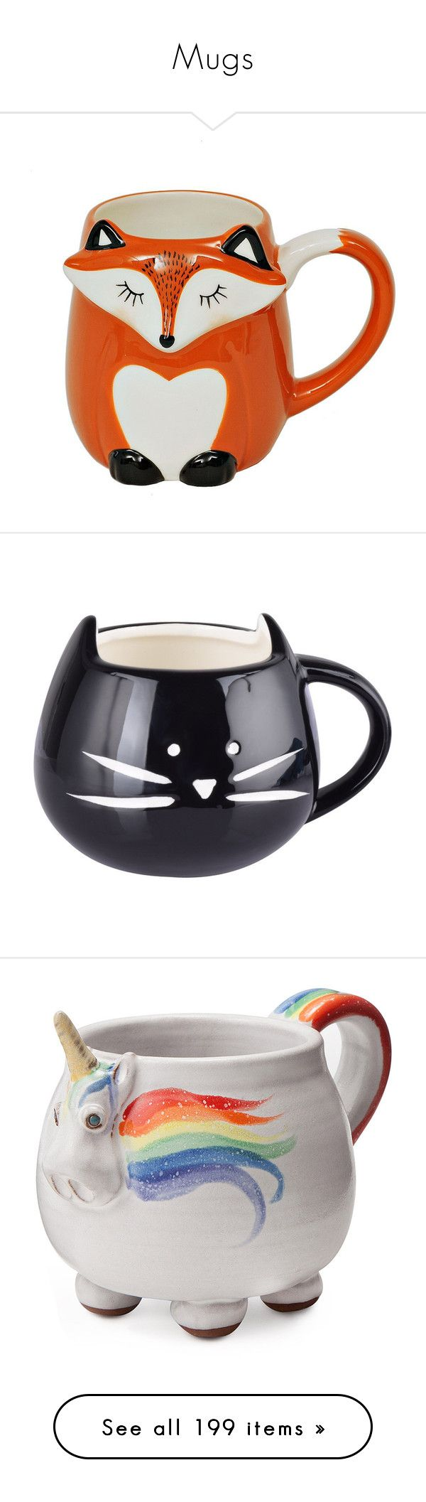 """""""Mugs"""" by annaclaraalvez ❤ liked on Polyvore featuring home, kitchen & dining, drinkware, fox mug, ceramic mugs, fillers, drinks, accessories, food and food and drink"""
