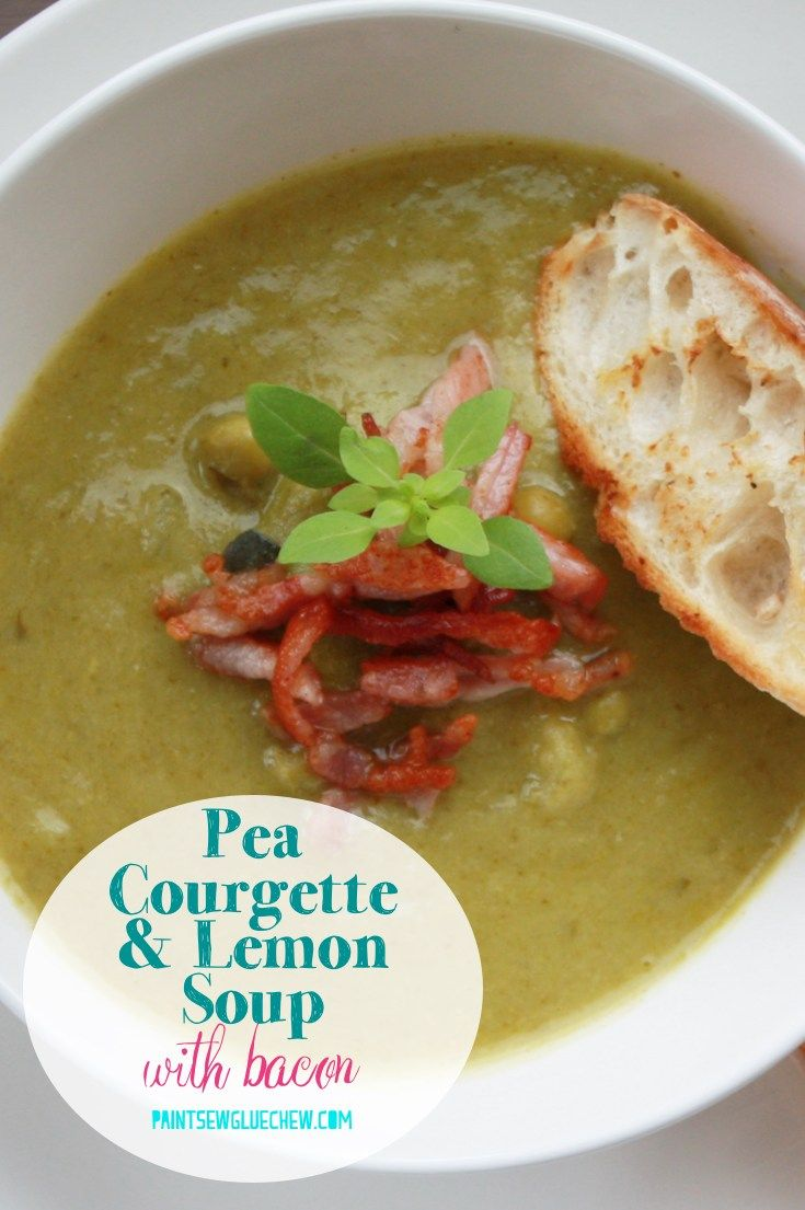 Pea Courgette Lemon Soup With Bacon PEA COURGETTE  LEMON SOUP With BACON is a delicious soup perfect for a filling lunch or easy supper Pin for later or head to the blog...