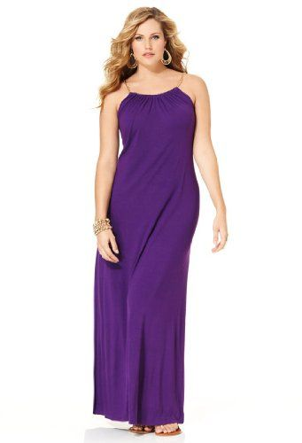 Plus Size Casual Dresses | Avenue Plus Size Solid Chain Maxi Dress, Purple 26/28 in New-Arrival ...