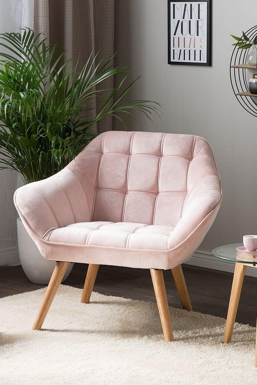Fotel Welur Różowy Karis Salon W 2019 Meble Sypialnia I