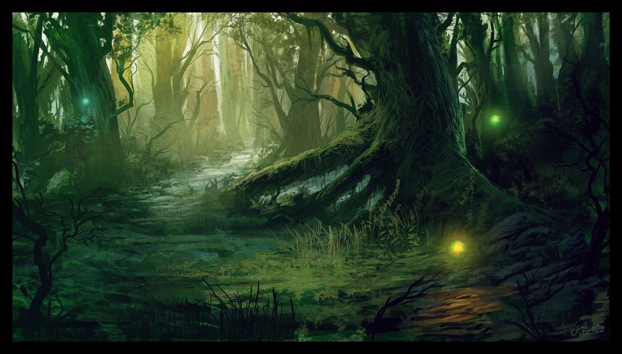 Mana cycle forest scene by on for Forest scene drawing