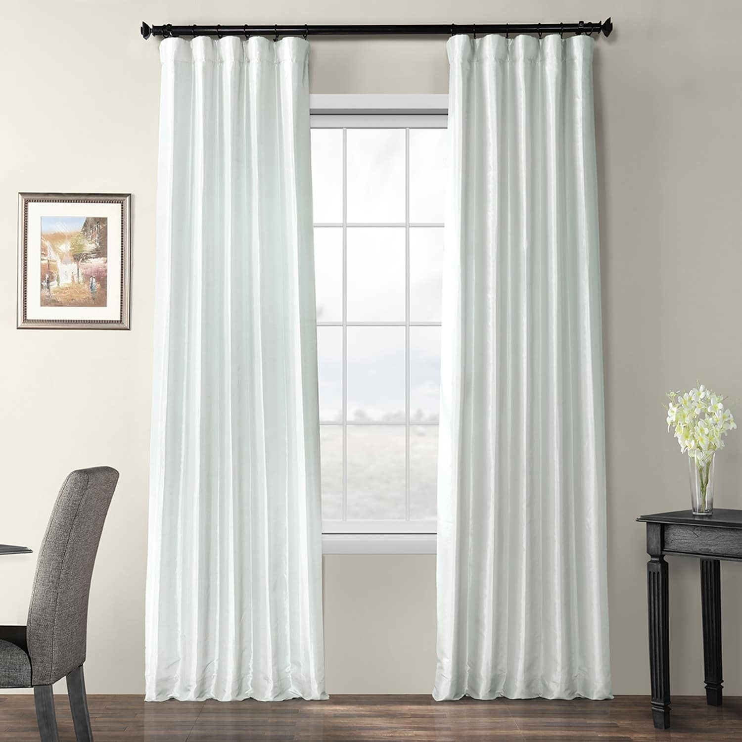 Exclusive Fabrics Blackout Faux Silk Taffeta Curtain 108 In