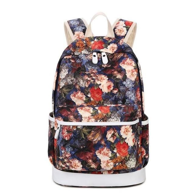 4cdda5618ef 3pcs Set Backpack Women Floral Printing Backpack Canvas Bookbags School  Backpacks Bags for Teenage girls Bagpack Backbag