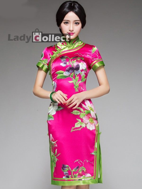 Retro Chinese Style Short Qipao Wedding Dresses Real Silk Cheongsam ...