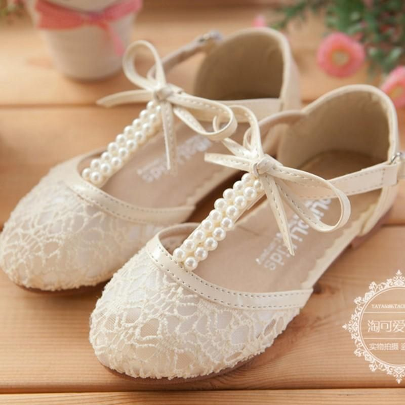 Cute Wedding Girls Shoes Lace Pearl Bow Hollow Lace Up Flower Girl ... c5458790b5e7