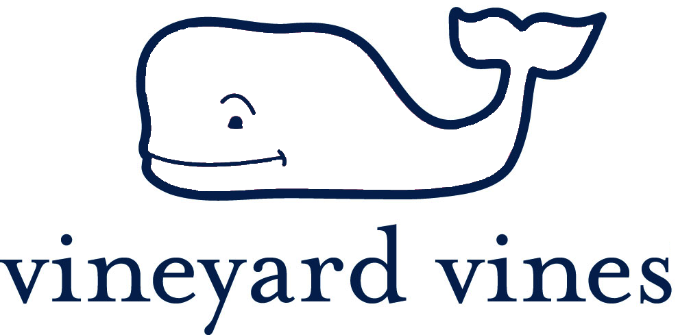 Vineyard Vines Whale Logo Outline Navy And White