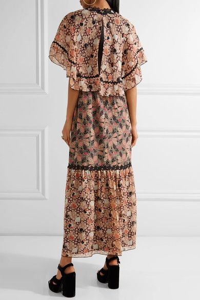 Embellished Printed Silk-chiffon And Cotton-blend Voile Maxi Dress - Pink Anna Sui qj8OoD26