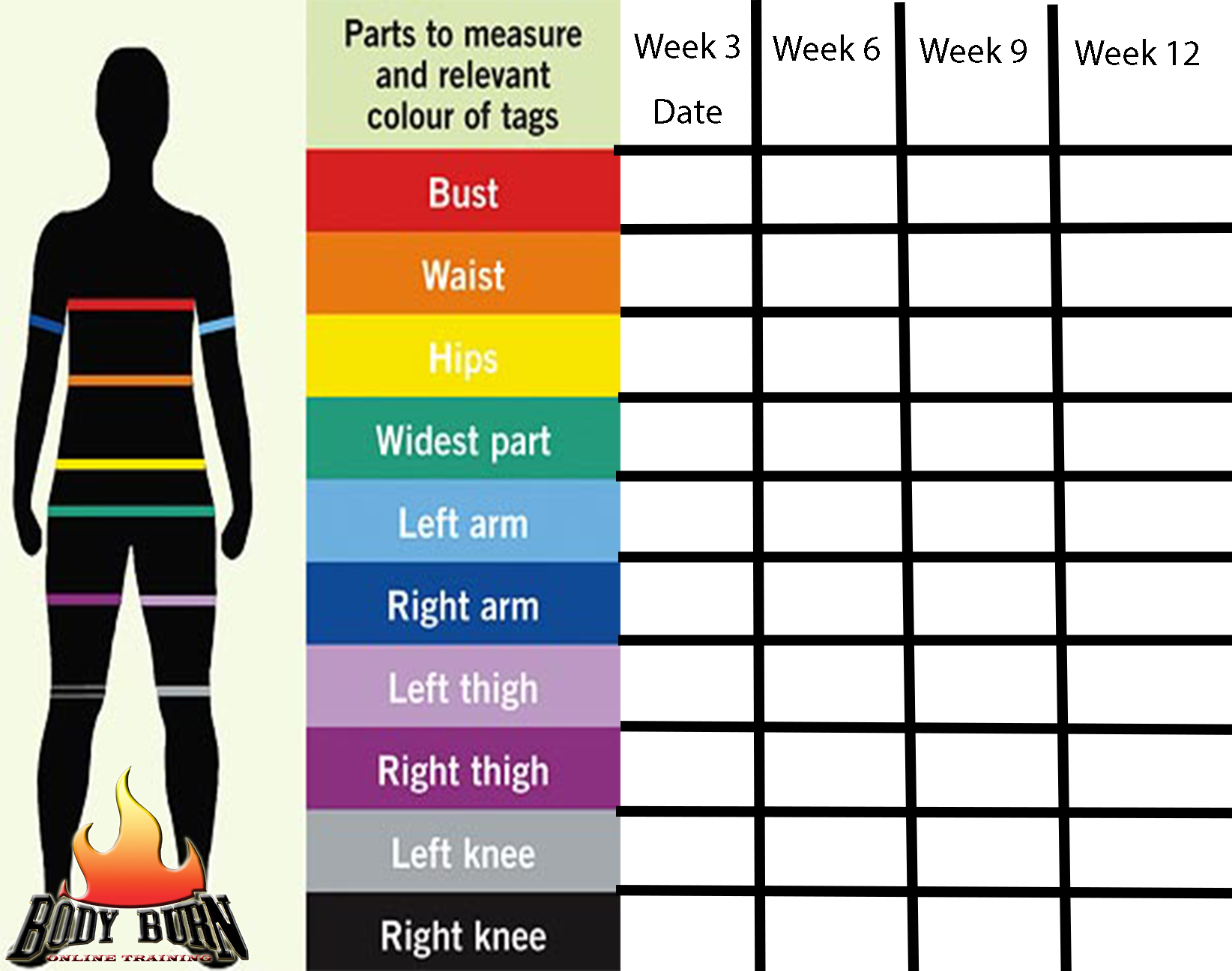 Body Measurement Worksheet For Weight Loss