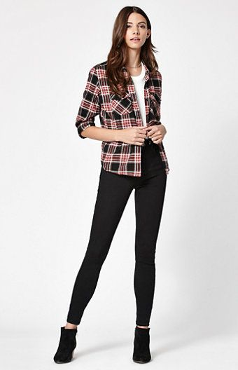 Shirt Down Cozy Cropped Black Annelise Button Flannel Day board wOwXcZqI