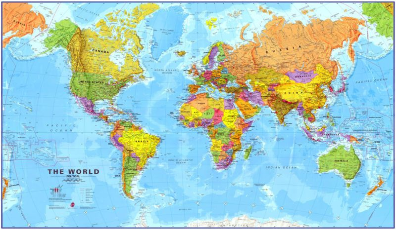 48x78 World MegaMap Large Wall Map Poster And Mural