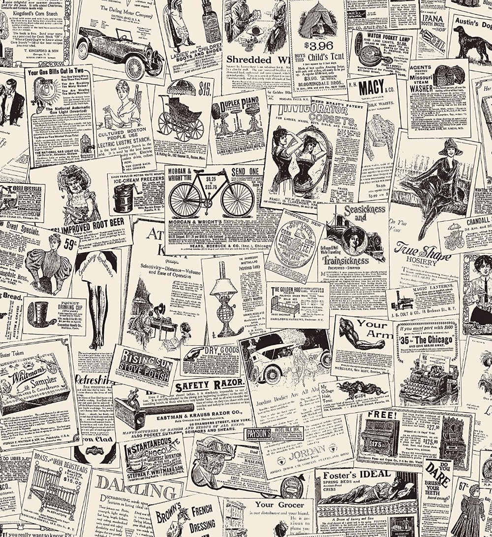 Vintage Newspaper Ads Peel And Stick Wallpaper Use As Contact Paper Wall Paper Or Shelf Paper Re Vintage Newspaper Newspaper Wallpaper Wallpapers Vintage