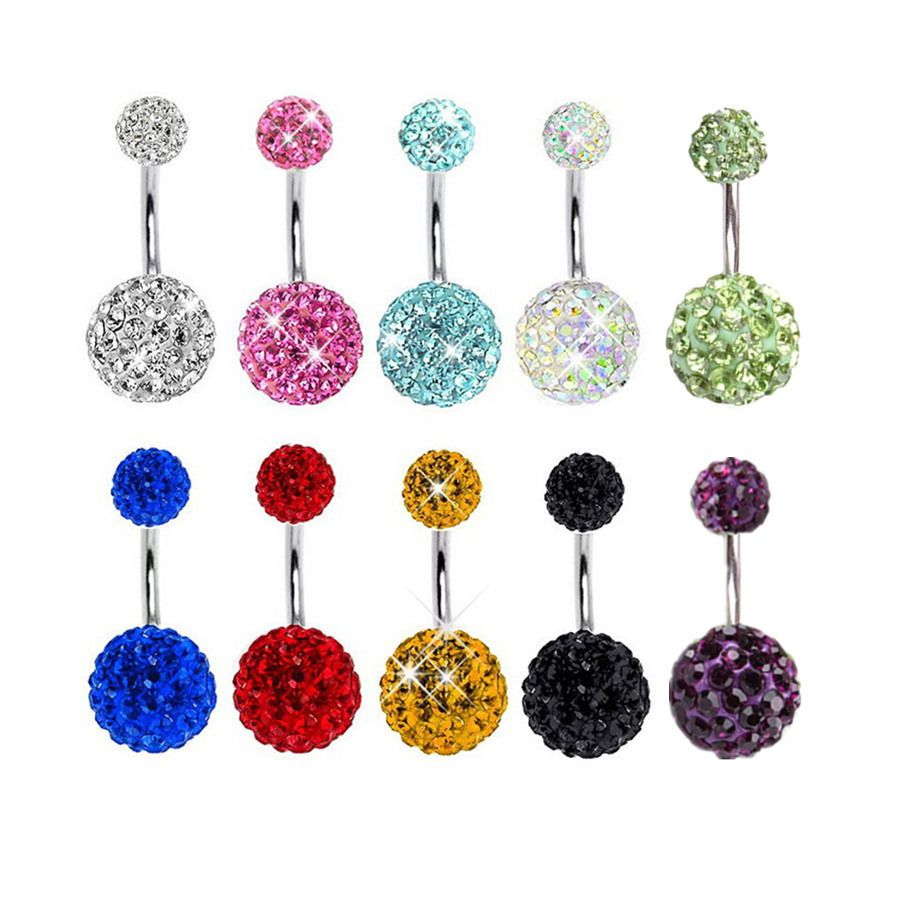 Belly button piercing jewellery  Navel Belly Button Ring Barbell Rhinestone Crystal Ball Piercing