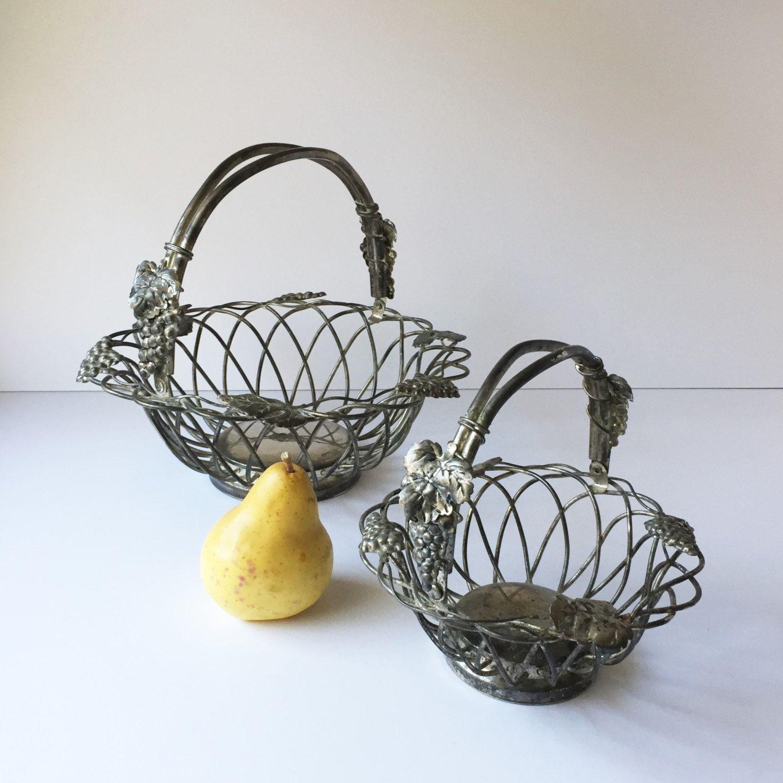 Two Vintage Godinger Silver Plated Baskets Grape Leaf